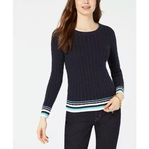 Tommy Hilfiger Cotton Tipped Cable-Knit Sweater XS